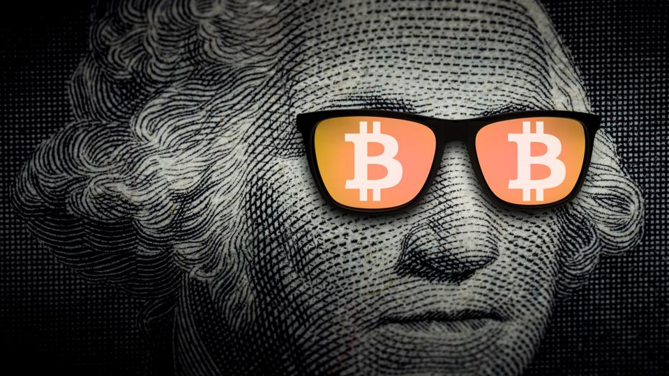 George Washington wearing sunglasses with Bitcoin signs. Cryptocurrency, digital money concept.