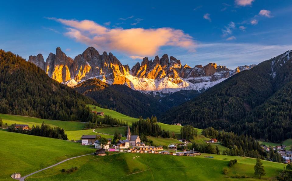 Santa Maddalena (Santa Magdalena) village with magical Dolomites mountains in background.