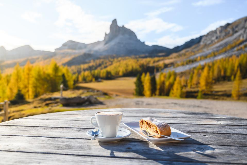 Outdoors breakfast in the dolomites, Italy