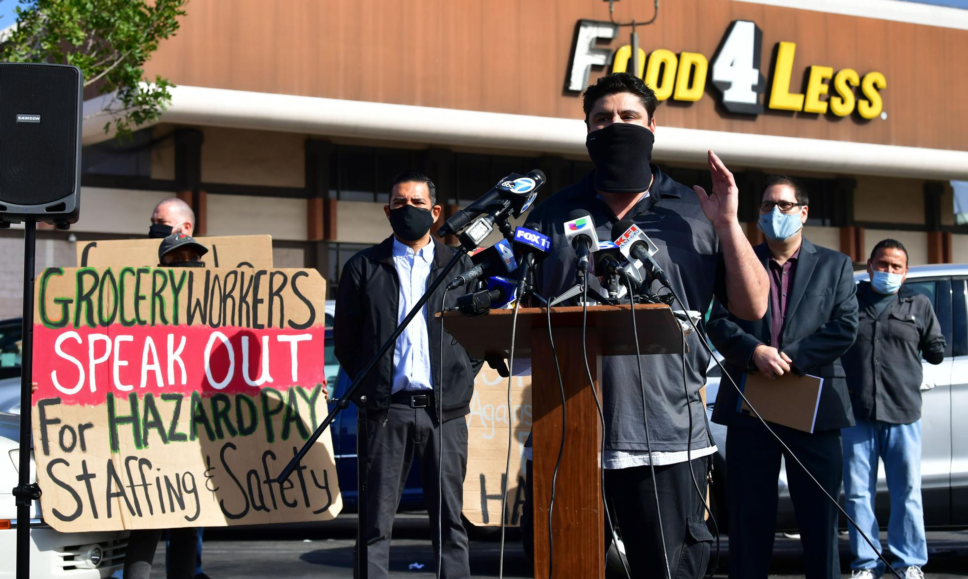 In February, Robert Gonzales, a Kroger employee of 26 years, addressed a crowd of supermarket workers gathered to protest in front of a Food 4 Less supermarket in Long Beach, California. The store's owner, Kroger, decided to close two supermarkets after Long Beach City Council passed a $4 per hour hazard pay mandate.