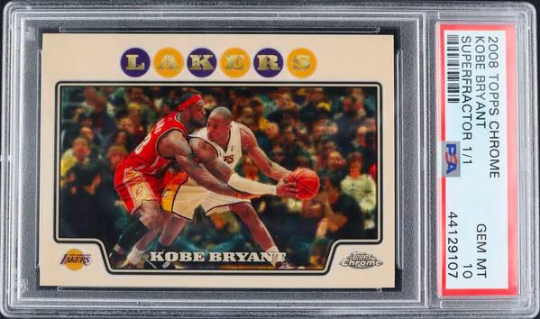 The crown jewel of Alt founder Leore Avidar's personal card collection: The world's only 2008 Topps Chrome Kobe Bryant Superfractor.