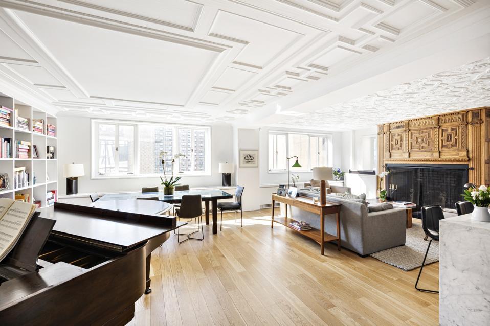 living room in leroy neiman's longtime manhattan apartment hotel des artistes
