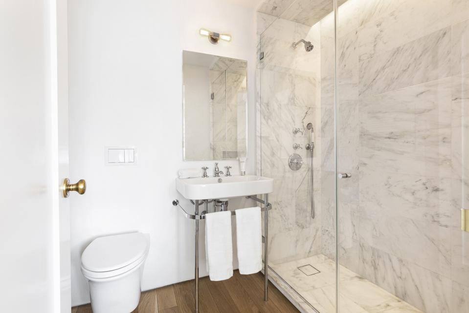 bathroom in leroy neiman's longtime apartment in manhattan hotel des artistes