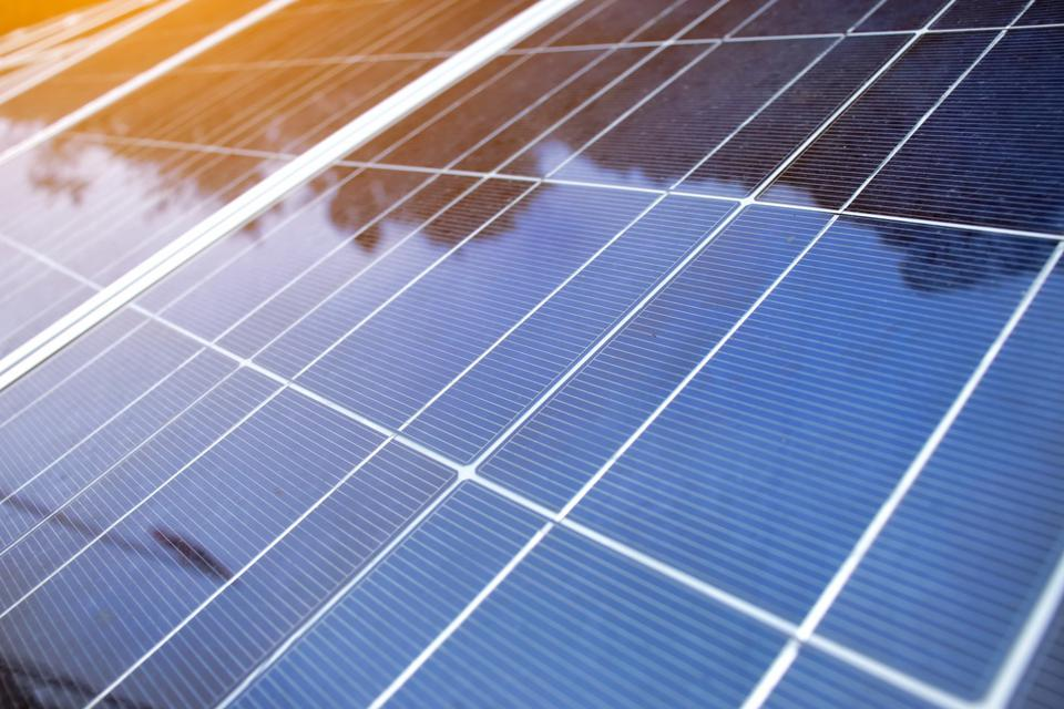 Solar panels energy production plant outdoor. Alternative clean green energy concept