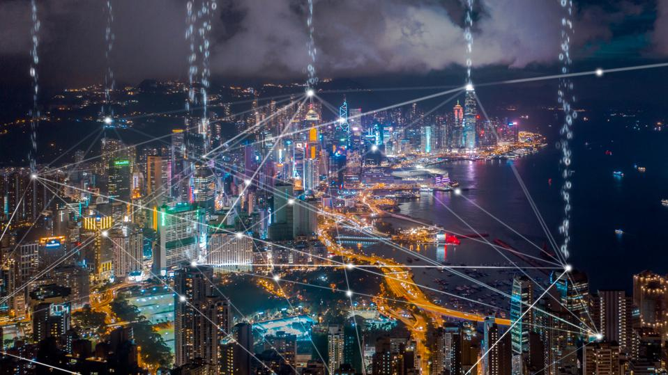 Data transfer over Hong Kong city,Connection and  wireless network technology.smart city,internet of things,big data,Fin tech concept
