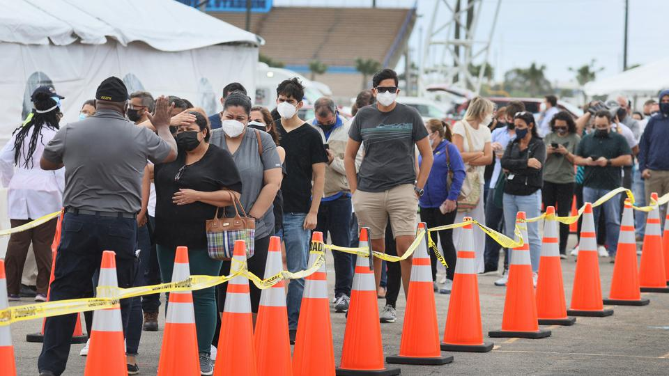 Floridians Get COVID-19 Vaccine At FEMA Vaccination Site In Miami Area