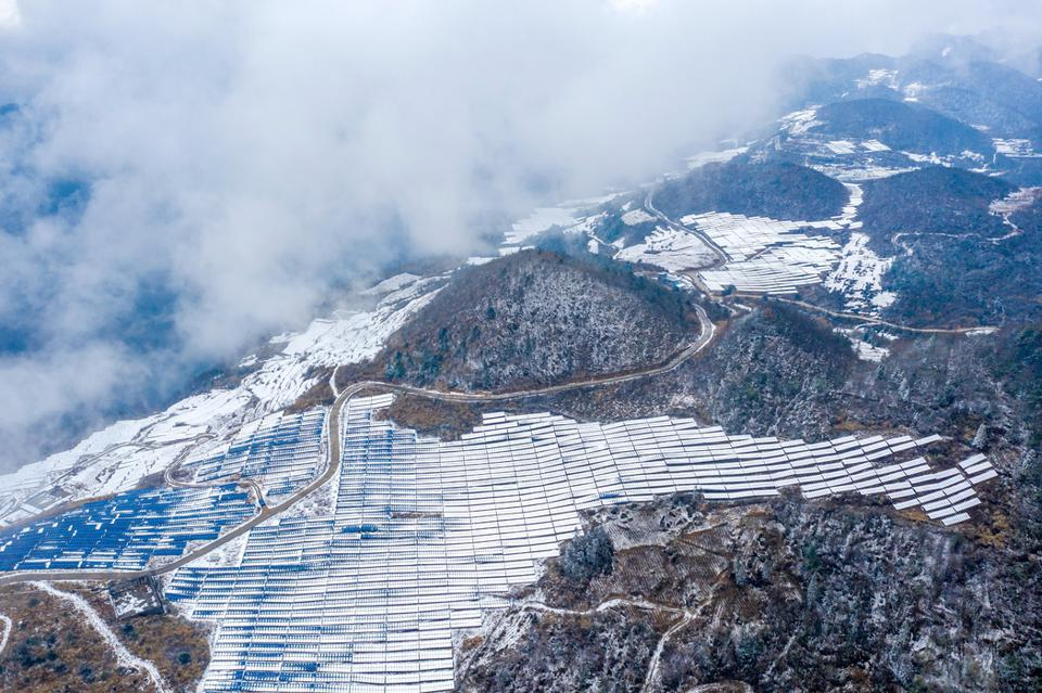 Photovoltaic Power Station Covered By Snow In Chongqing