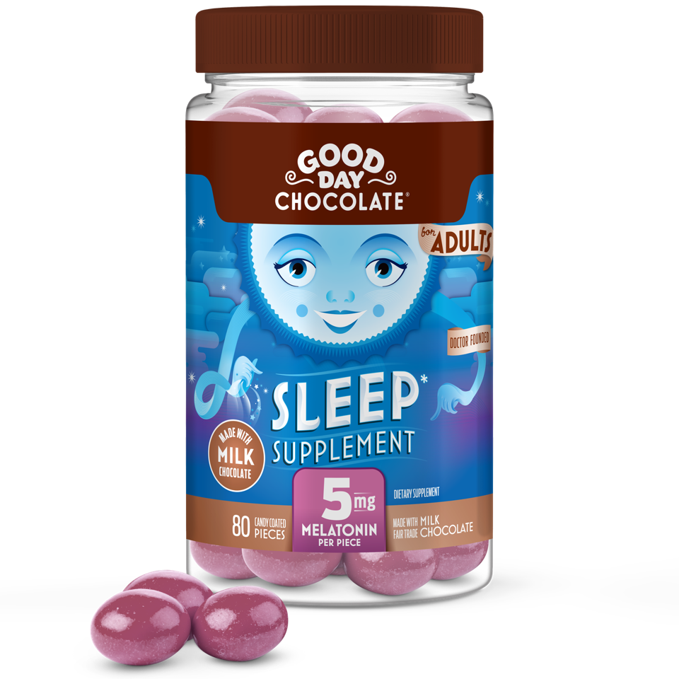 A bottle of Good Day Chocolate 5mg Milk Chocolate.