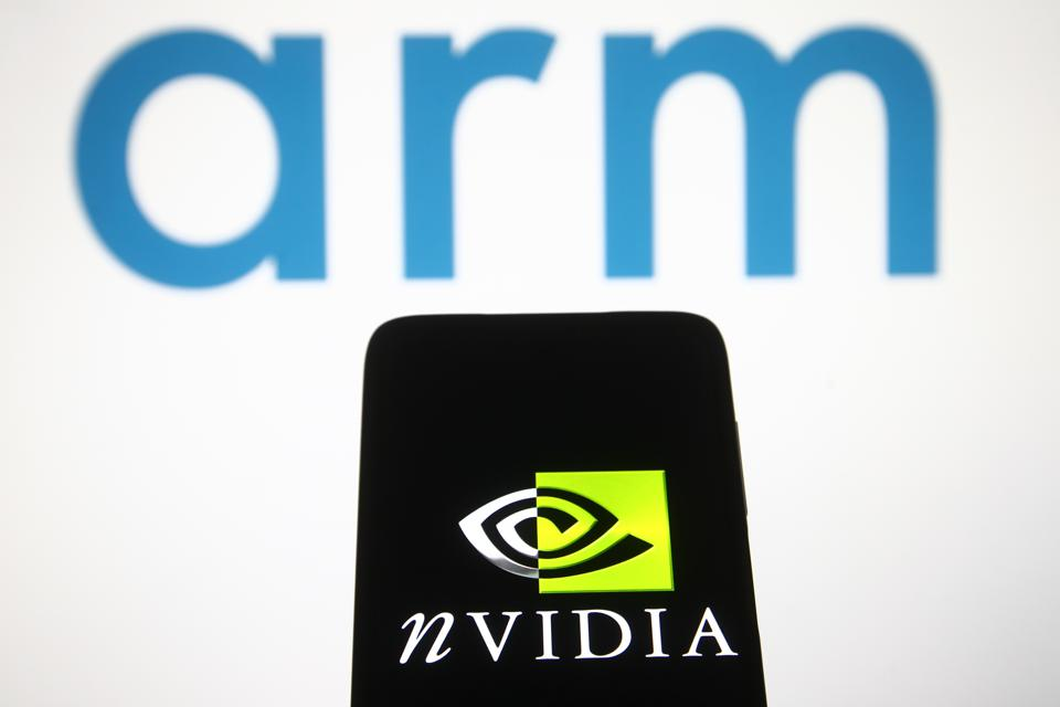 In this photo illustration, Nvidia logo is seen displayed on...