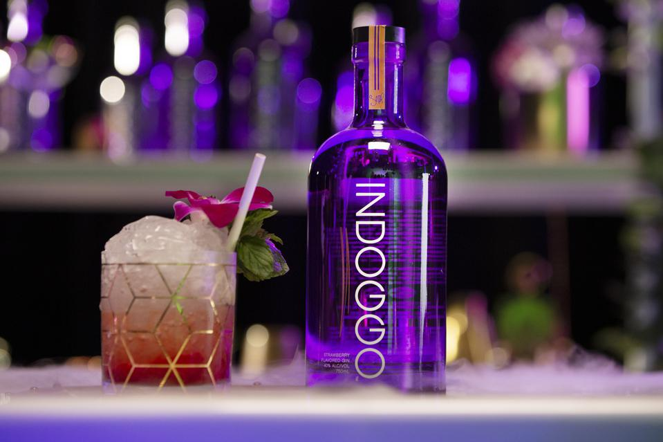 A purple bottle of gin sits at the bar.