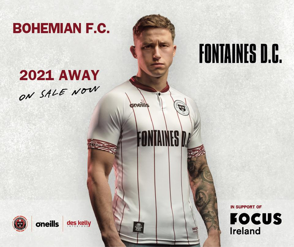 Image of Bohemian FC player Rob Cornwall in the club's shirt for the 2021 season.
