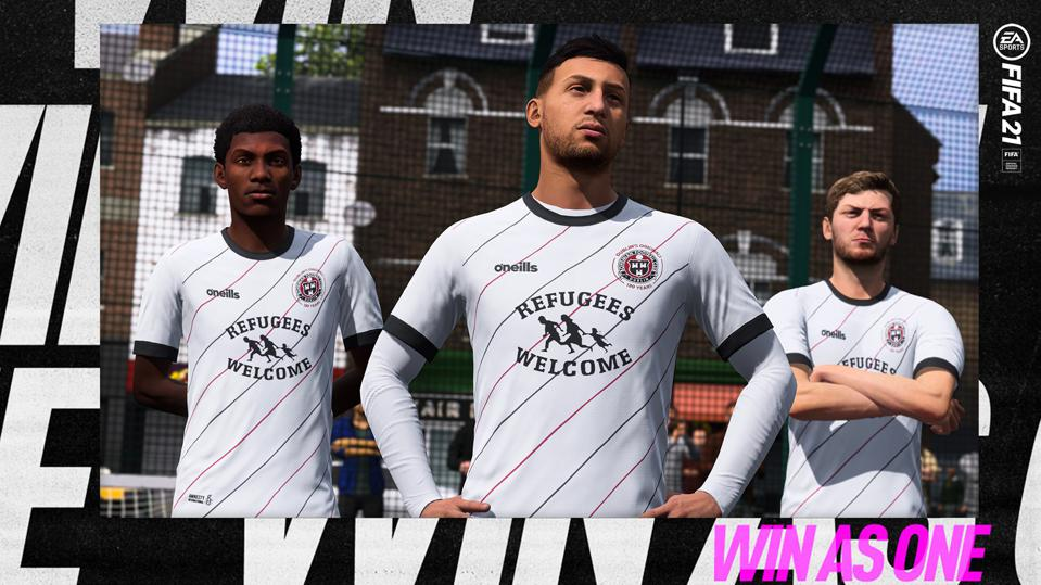 Images of Bohemian FC's Refugees Welcome jersey in the FIFA 21 video game.