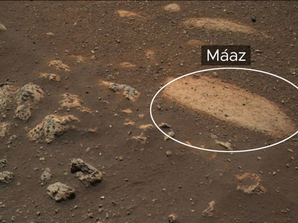 "This rock, called ""Máaz"" (the Navajo word for ""Mars""), is the first feature of scientific interest to be studied by NASA's Perseverance Mars rover."