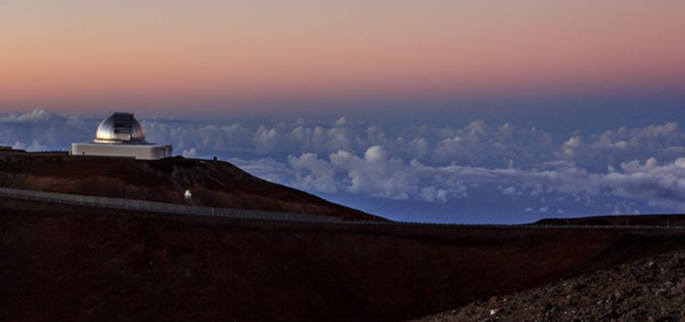 This photo shows the view from inside the dome of NASA's Infrared Telescope Facility during a night of observing. The 3.2-meter (10.5-foot) telescope atop Hawaii's Mauna Kea will be used to measure the infrared spectrum of asteroid 2001 FO32.