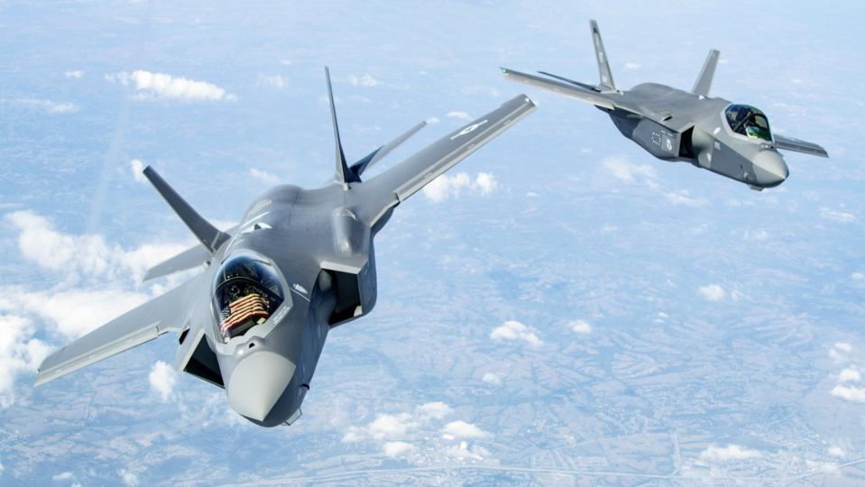 Two F-35s in the air.
