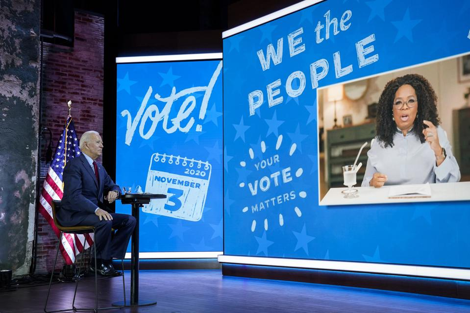Presidential Candidate Joe Biden Participates In Virtual Town Hall With Oprah