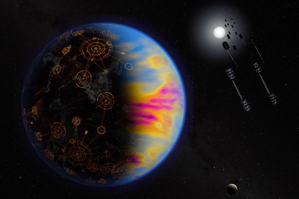 Artist's illustration of a technologically advanced exoplanet. The colors are exaggerated to show the industrial pollution, which otherwise is not visible.