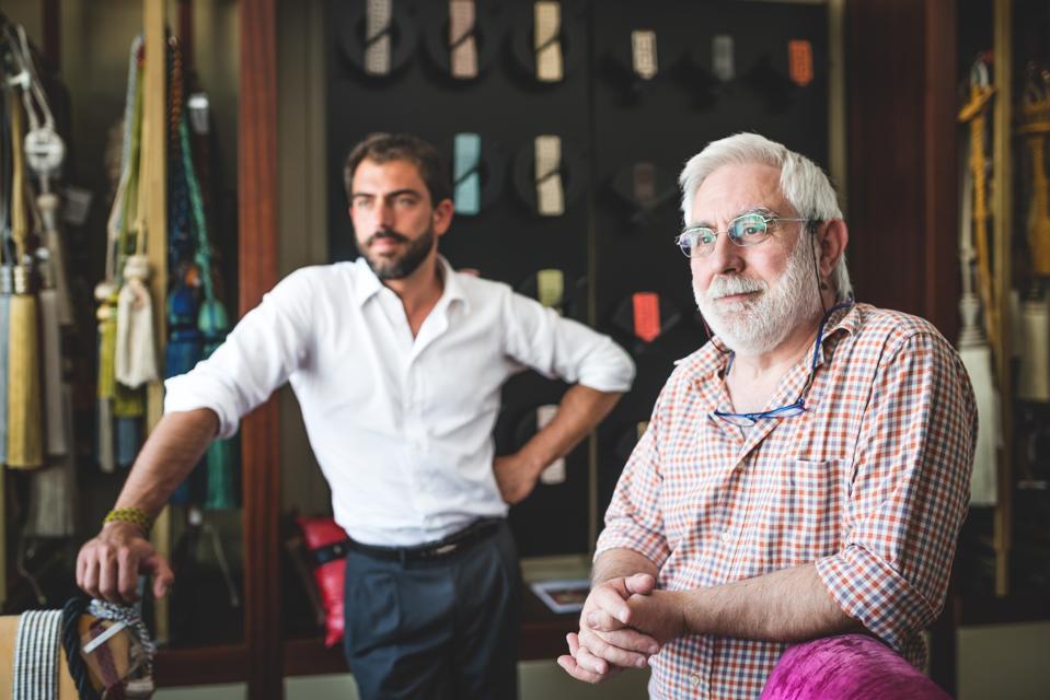 Portrait of Father and Son Entrepreneur