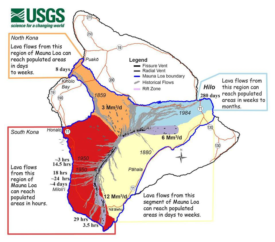 A map detailing potential lava flow speed from Mauna Loa.