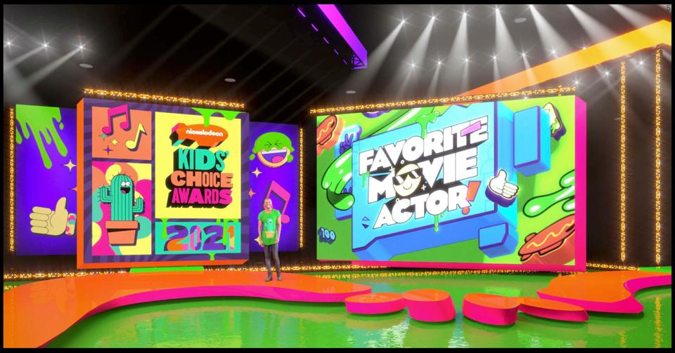 A stage rendering of the Nickelodeon Kids' Choice Awards.