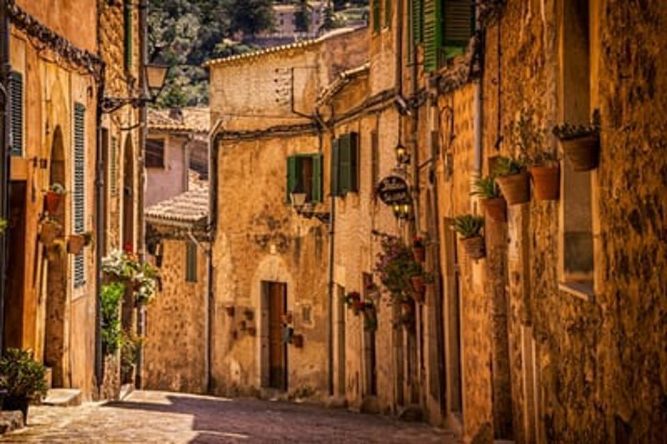 Winding street in Spain
