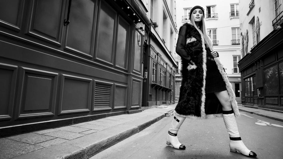 A model poses for a still shot from the Chanel Autumn Winter 2021-2022 collection film in Paris.