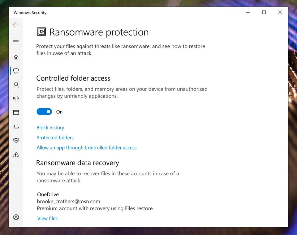 Windows 10 ransomware protection.