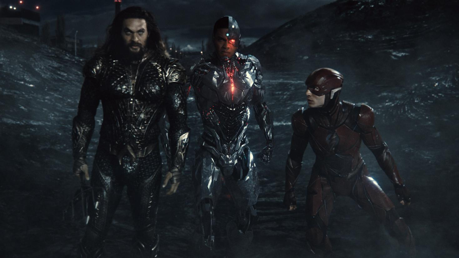 Jason Momoa, Ray FIsher and Ezra Miller in Zack Snyder's 'Justice League'