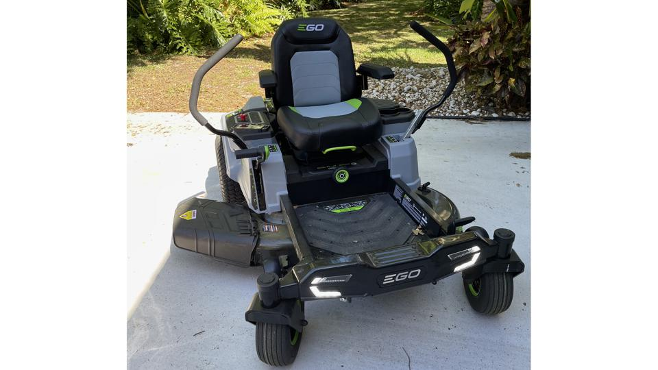 EGO Power+ 42″ Z6 Riding Mower, just after its first cut.