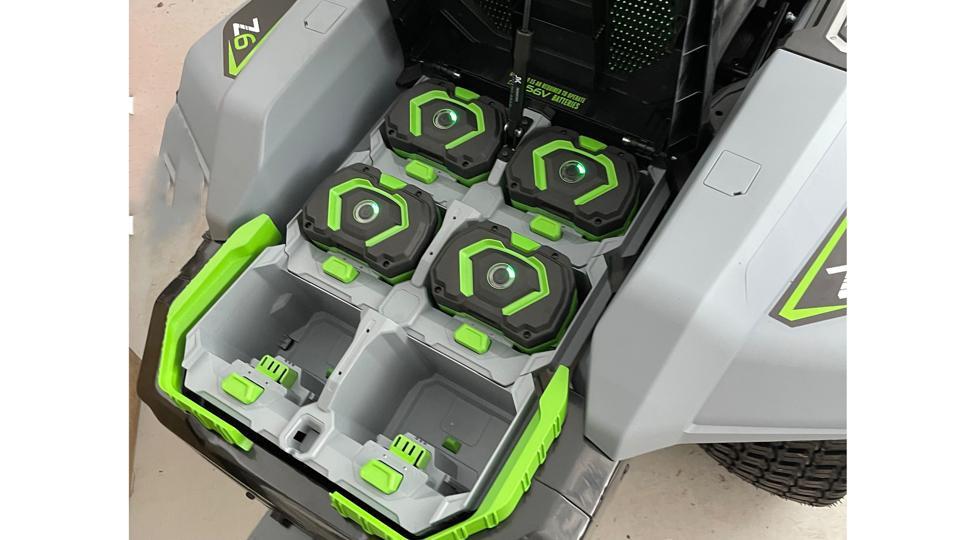 EGO Power+ 42″ Z6 Riding Mower, battery bay open