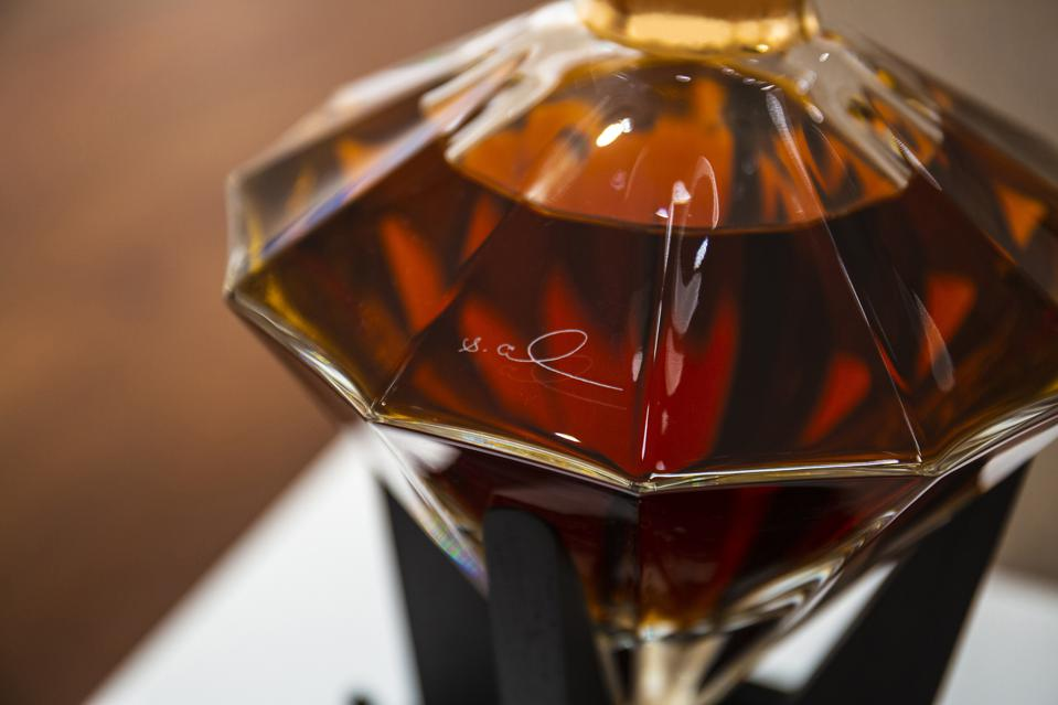 Lot 7 at Sotheby's, a rare D'Usse Grande Champagne Cognac Anniversaire Limited Edition 1969, sold for $52,500.