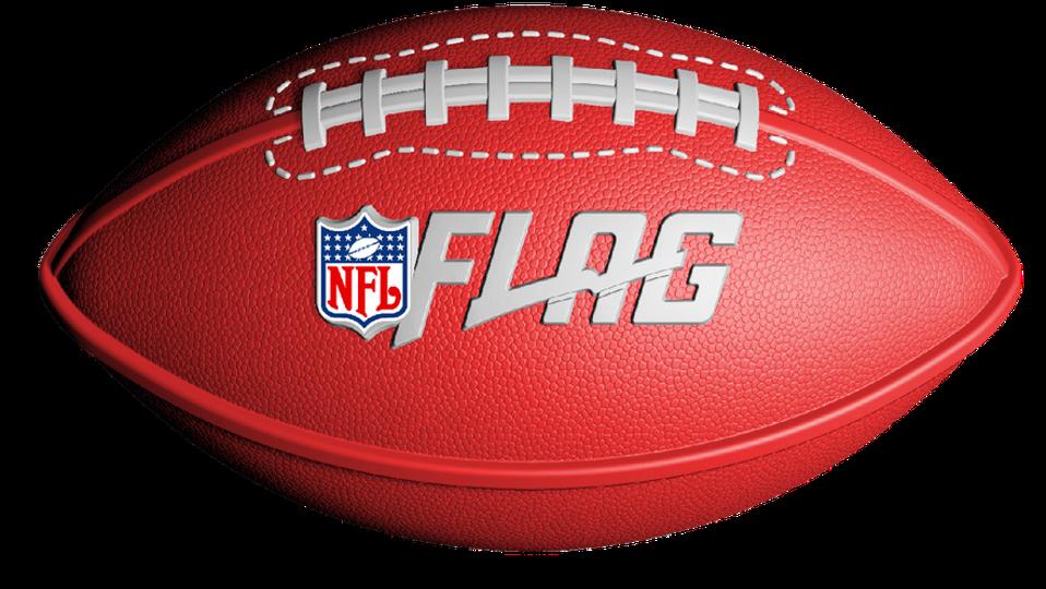 A Nerf football with the NFL Flag league logo.