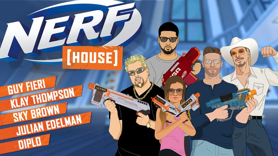 An illustration for the Nerf House X animated version of the Nerf House videos with celebrities.