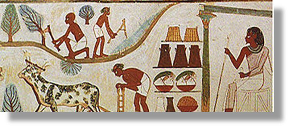 Figure 2: Agricultural tree-cutting and plowing in ancient Egypt: 15th century BC