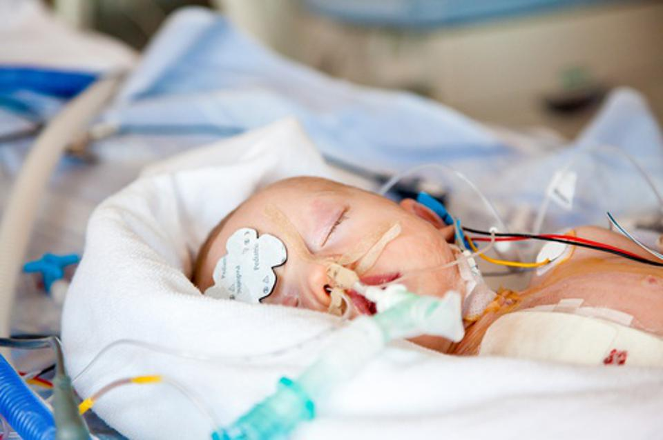 Infant in intensive care.
