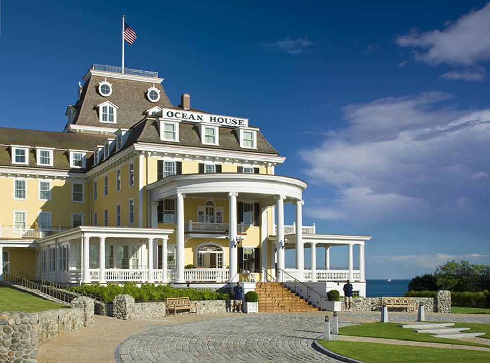 An exterior of the Ocean House Hotel in Rhode Island.