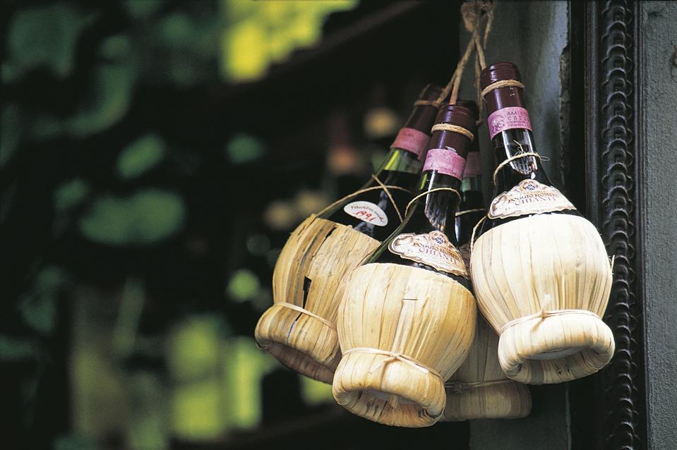 Chianti wine in the traditional fiasco basket