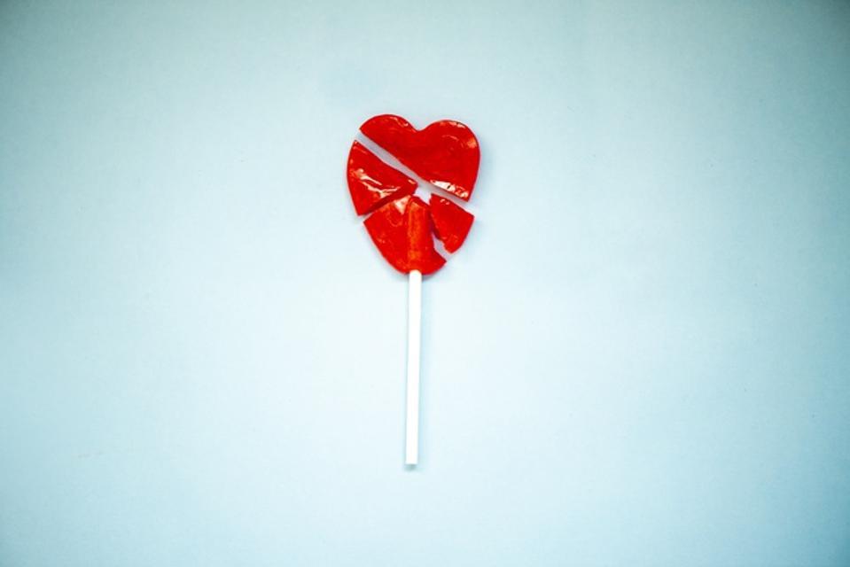 Broken heart shape lollipop