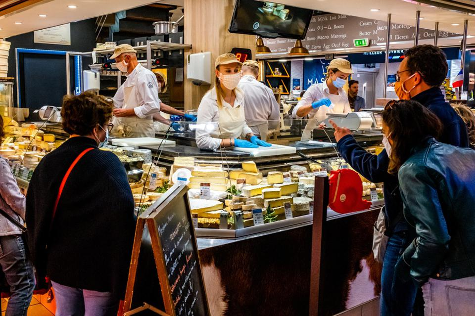 A fromagerie (cheese shop) in Lyon, France during lockdown