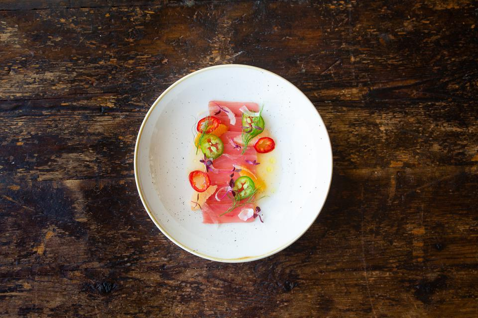 Southwestern Tuna Crudo from Amangiri resort in Canyon Point, Utah