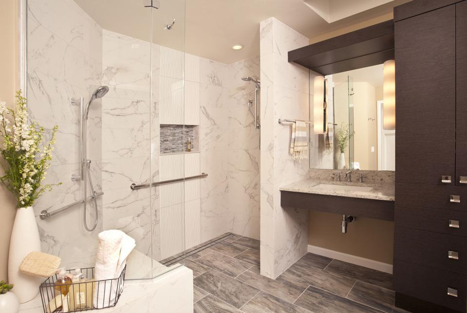 Bathroom with universal design features
