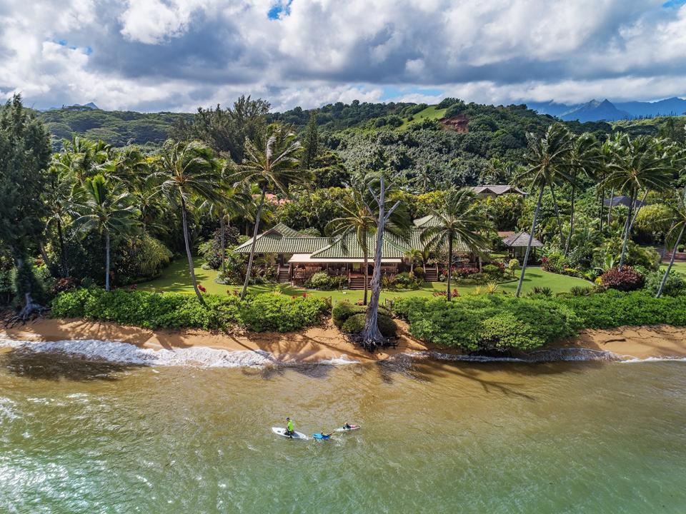 aerial photo of hawaii luxury home and beachfront Anini Estate North Shore Kauai