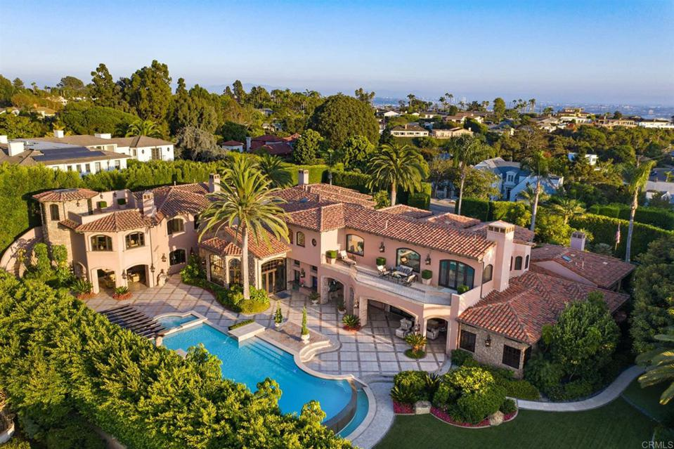 aerial view of muirlands luxury home and pool at 1330 Inspiration Drive in la jolla