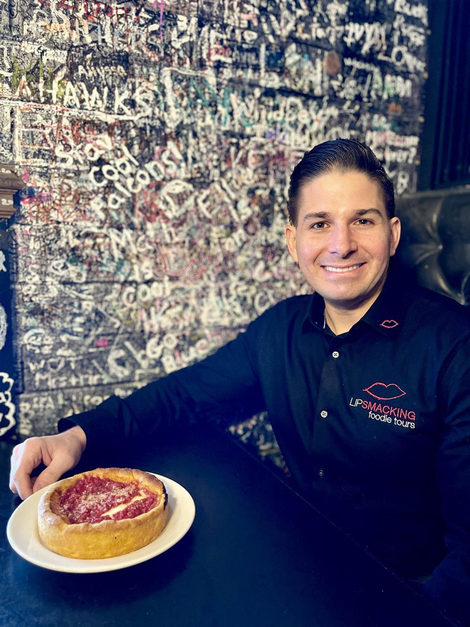 Don Contursi with Chicago deep dish pizza