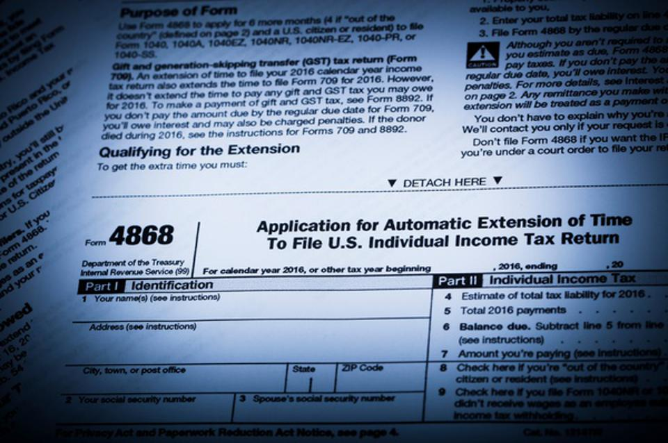 IRS Form 4868 Tax Extension form