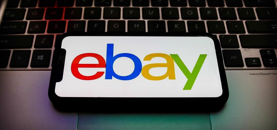 eBay logo is seen displayed on a phone screen in this illustration photo taken in Poland on November 29, 2020.