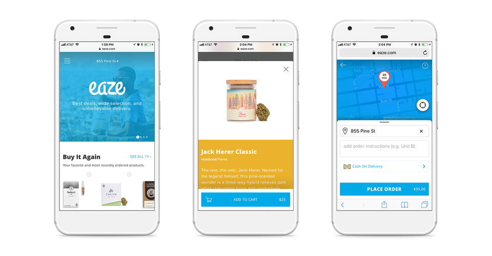 Delivery for cannabis medical and adult-use markets, made easy on the Eaze app.