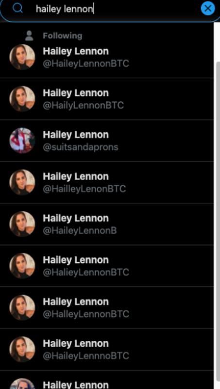 Photograph from twitter showing impersonator accounts