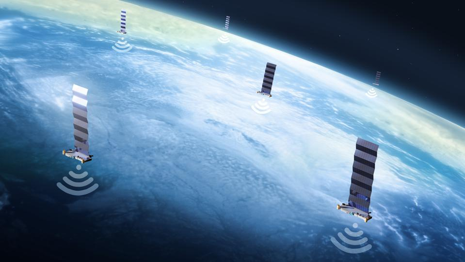Starlink satellites, illustration