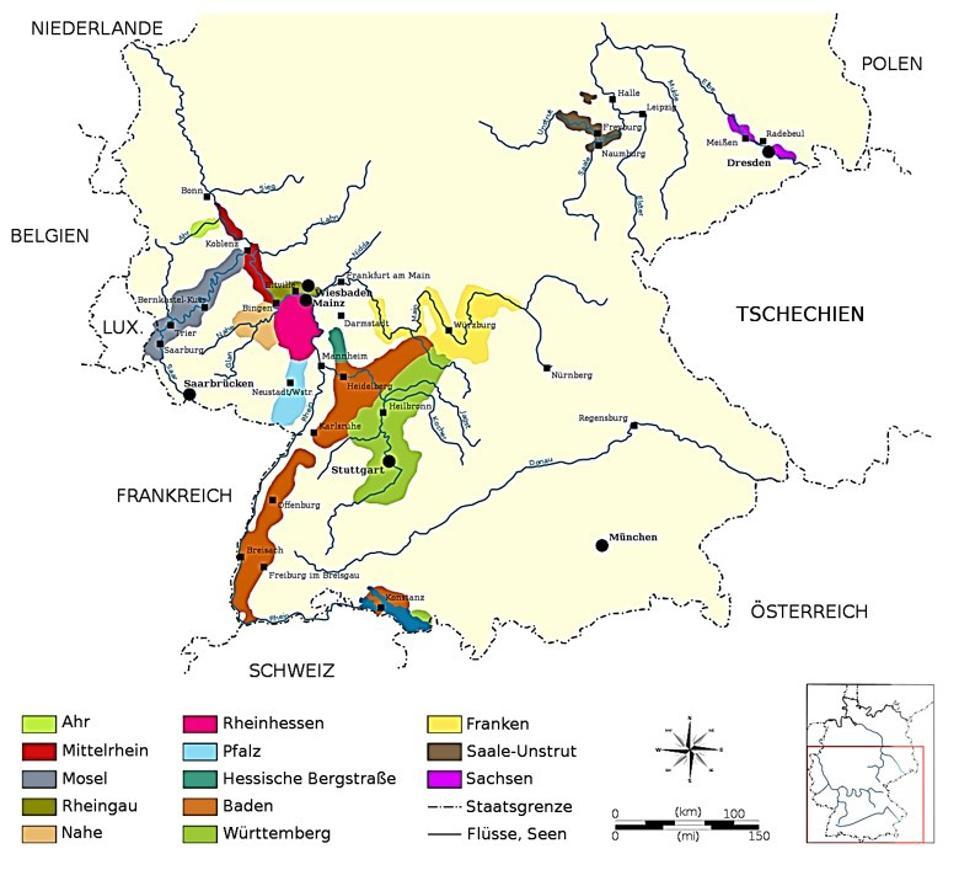 Germany's 13 wine producing regions